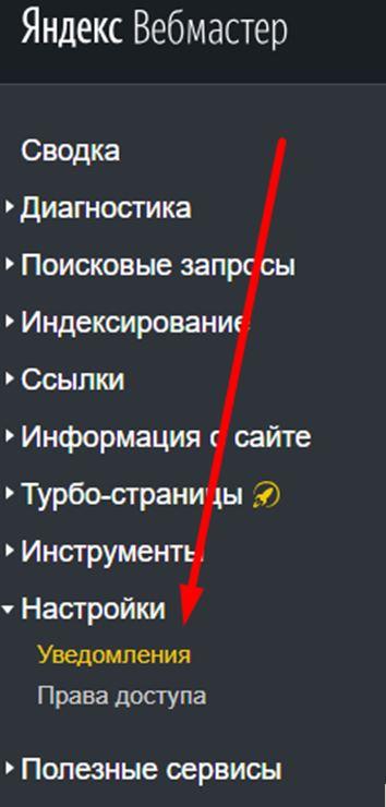 Уведомления в Яндекс Вебмастере