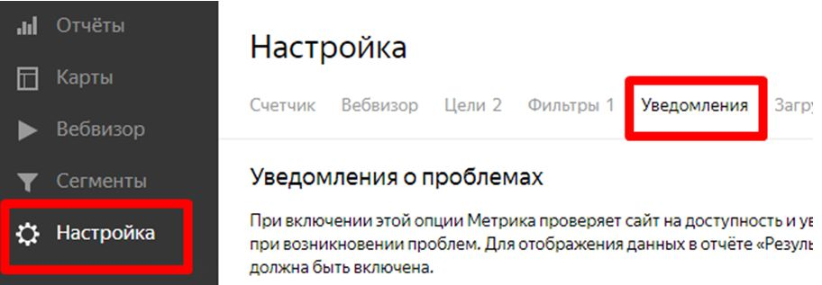 Настройка уведомлений в Яндекс метрике